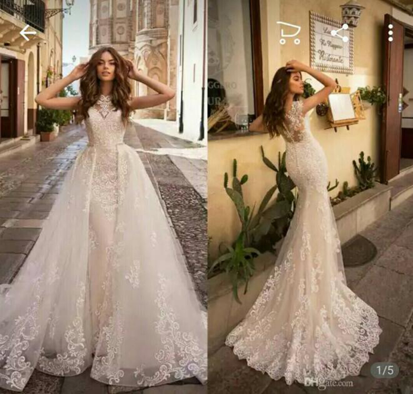 2020 Elegant Lace Wedding Dresses With Detachable Train Jewel Sleeveless Mermaid Bridal Gowns Applique Customize Wedding Dress