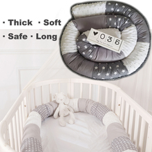 2.5M Baby Bed Bumper Fence Natural Cotton Safe Bed Fence for Babies Newborn Crib Bumper Fence Protector Infant Room Decor HM0003