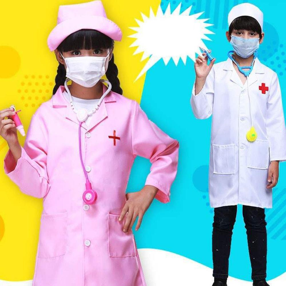 Children/'s Clothing Role Play Costume Doctor/'s Overall White Gown Nurse Uniform