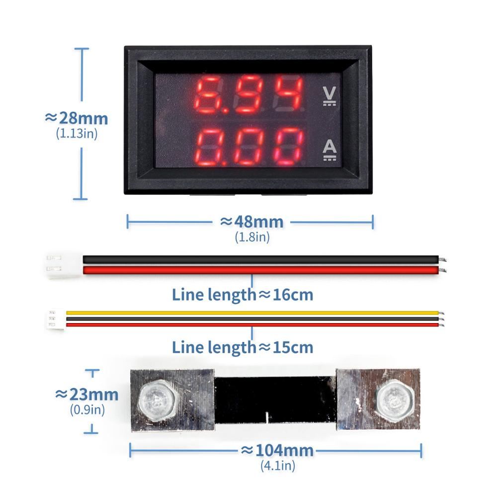 Mini Digital <font><b>Voltmeter</b></font> <font><b>Ammeter</b></font> <font><b>DC</b></font> <font><b>100V</b></font> 10A <font><b>50A</b></font> 100A Panel Amp Volt Voltage Current Meter Tester 0.56