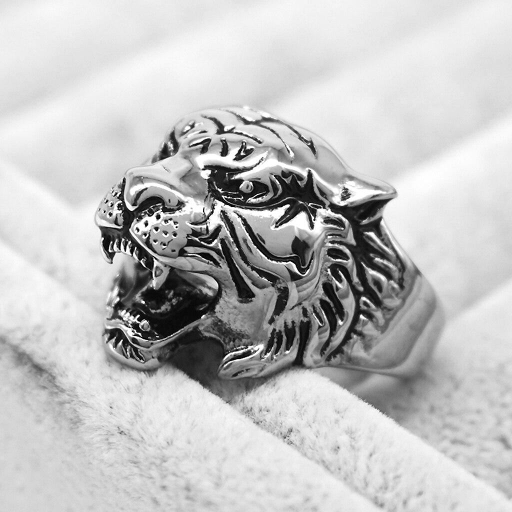 Мужская винтажная 316L Нержавеющая сталь 3D голова тигра животное кольцо браслет байкерские ювелирные изделия