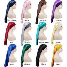 Virgin-Hair Control-Wrap Long-Bonnet Custom-Logo Elastic Satin Sleeping-Sleep-Caps Wide-Edge