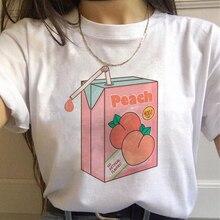 Kawaii Peach Harajuku T-shirts Women Ullzang Peachy Small Fresh T Shirt Cute Cartoon 90s Ts