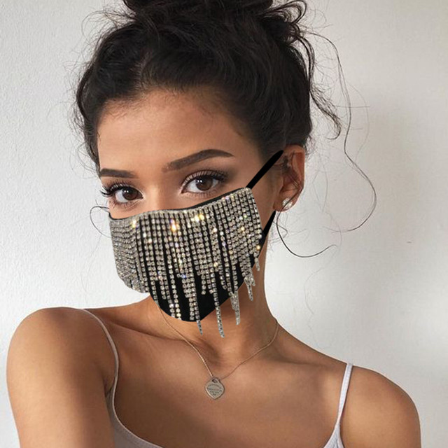 #30 1PC  Women's Sequin Mask Fashion Club Face Mask Flash Diamond Jewelry Tassel Pendant Party Mask mascarillas adultos 2