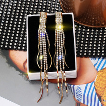 S925 Silver Needle Euro-American Drilled Long Liusu Earrings Womens Fashion Exaggerated Korean Personal EarringsTrend