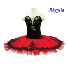 Red black professional ballet tutu girls classical adult costumes performance Women