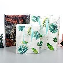 Favores do partido tropical planta embalagem saco saco do presente sacos de compras sacos de presente com alças de papel feliz aniversário коробка для торта doces