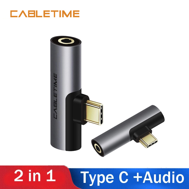 Cabletime Type C 3.5mm Jack Earphone Audio Charging Converter 2 In 1 USB C Adapter 60W For Huawei 20 P30 Xiaomi Mi 6 8 9SE N216