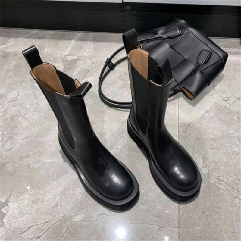 Jady gül 2020 yeni kış hakiki deri Chelsea çizmeler kadın platformu yarım çizmeler düz Botas Mujer bayanlar Slip-on kısa patik