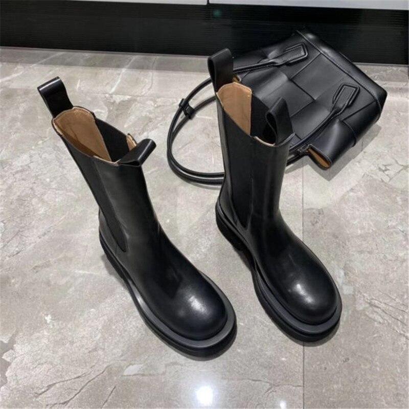 Joy Rose 2020 nuevas Botas Chelsea negras de moda para Mujer Botas de cuero genuino botines planos Mujer Botines cortos deslizantes - 3