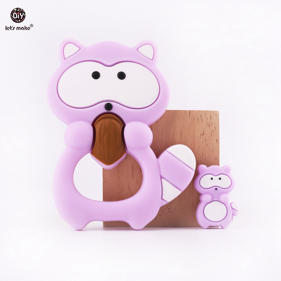 Let's Make Silicone Raccoon Teether 2pcs BPA Free Food Grade Silicone Teething DIY Pendant Nursing Rattles Teething Baby Teether