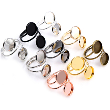 12mm 5pcs Silver Plated Gold Stainless Steel Adjustable Ring Settings Blank/Base,Fit 12mm Glass Cabochons,Buttons;Ring Bezels