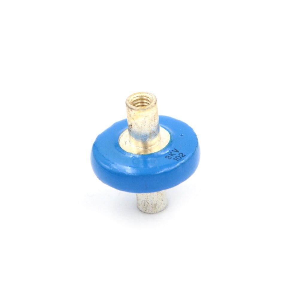 1pc 102 3KV 1nf 1000pf 4mm Thread Blue High Voltage Ceramic Doorknob Capacitor 20*25mm