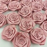 (30 unids/pack) 60*60mm Rosa fresca roseta de cinta Flor de cinta de raso decoración artesanal hecho a mano DIY suministros de decoración para fiesta