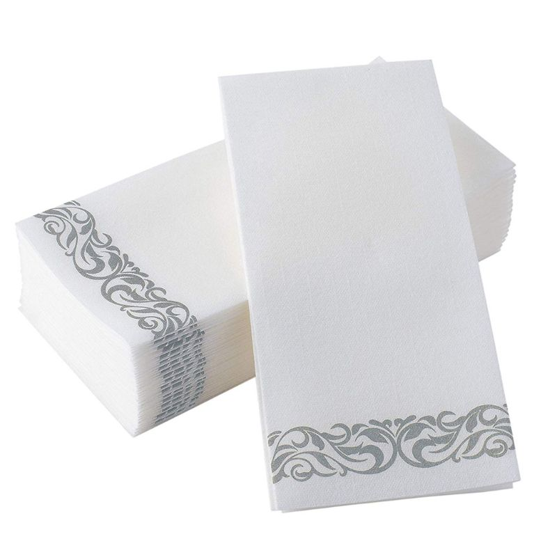 50PCS Disposable Hand Towels Decorative Bathroom Napkins Paper For Parties Weddings Dinners Silver Floral Sanitary Paper