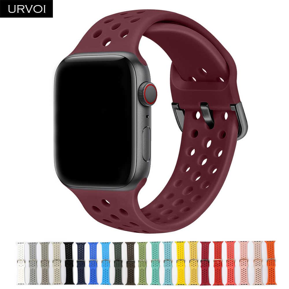 Спортивный ремешок URVOI для Apple Watch series 6/5/4/3/2/1/SE, ремешок для iWatch, силиконовый ремешок, штырь на замену, металлическая пряжка