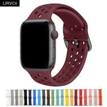 Ремешок спортивный URVOI для Apple Watch series 6/5/4/3/2/1/SE, силиконовый браслет для iWatch, металлическая пряжка