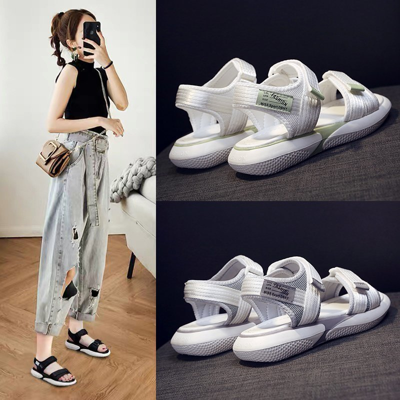 2021 New Sports Sandal for Women's Summer Korean Edition of Thick soled Student Versatile Velcro Shoes for Women's Beach Shoes Middle Heels  - AliExpress