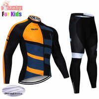 Camiseta radfahren set kinder Winter Team MensThermal Fahrrad Langarm Kleidung Fleece Winddicht Radtrikot Set Ropa Ciclismo