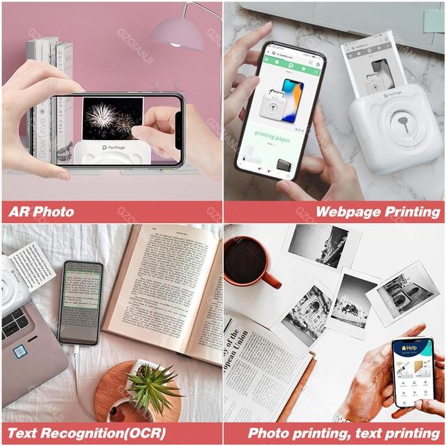 PeriPage Mini Portable Thermal Printer Paper Photo Pocket Thermal Printer 58 mm Printing Wireless Bluetooth Android IOS Printers 5