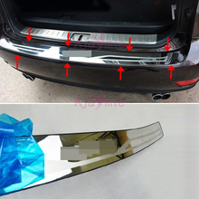 Rear Bumper Protector Trunk Door Sill Cover Trim 2009-2015 Stainless Steel  Car Styling for lexus RX 450h 350 270 Accessories car styling rear bumper trunk threshold door sill outer protector trim stainless steel for honda civic 10th sedan 2016 2017 2018