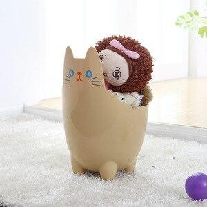 Image 3 - Poubelle créative pour bureau 1 pièce, Mini poubelle pour salon, chambre à coucher, sans couvercle, stockage de chat mignon