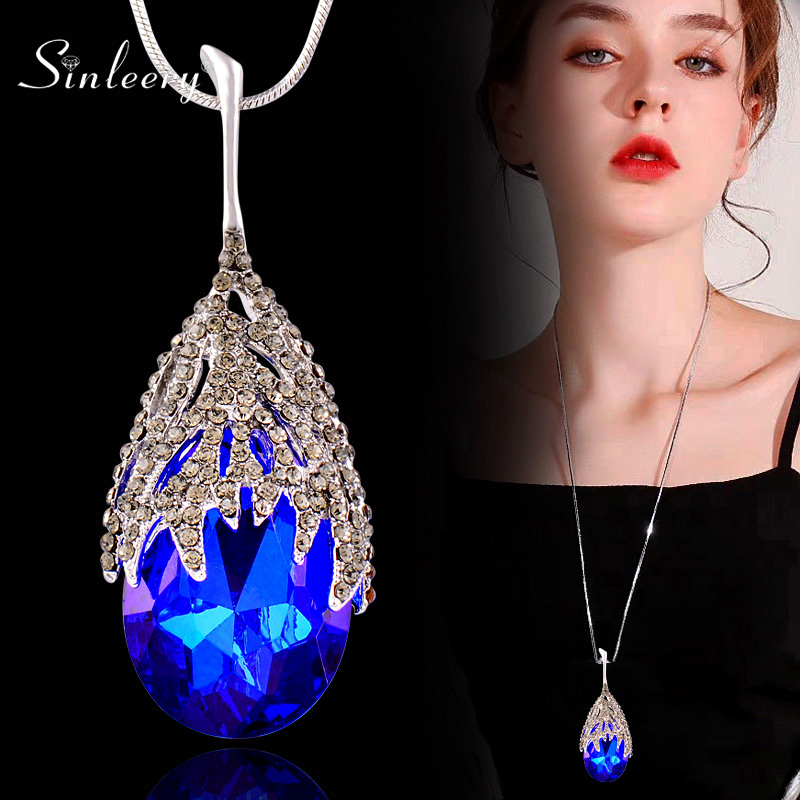 SINLEERY Fashion Waterdrop Shaped Big Pendant Necklace With Blue Cubic Zirconia Jewelry For Women Clothes Accessories MY117 SSO