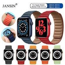1:1 skórzany pasek linkowy do zegarka Apple 44mm 40mm 42mm 38mm pasek pętla magnetyczna bransoletka do zegarka Apple Seires 5 4 6 SE Watchband