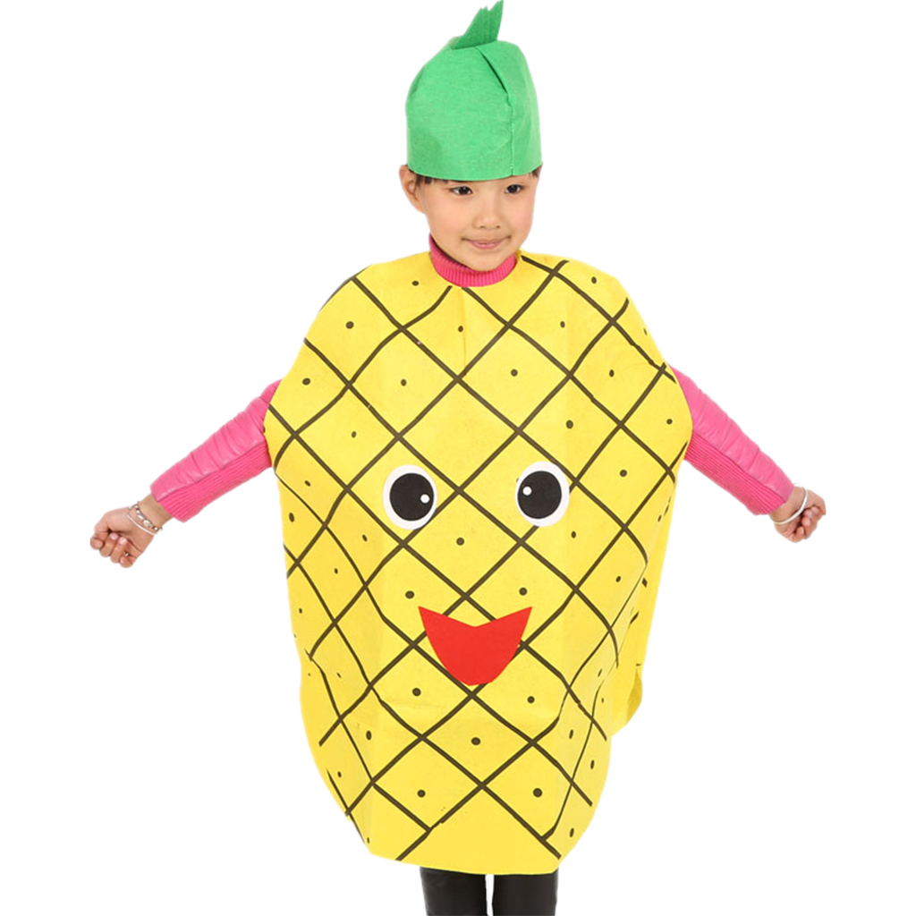 Kids Performance Clothing Party Pineapple Costume Child Stage Suit Fruit Outfit Party Fancy Yello Dress