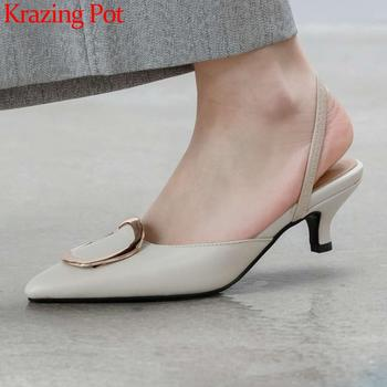 Krazing pot summer sandals natural leather pointed toe med heels slip on mules square buckle decorations brand shoes women L38
