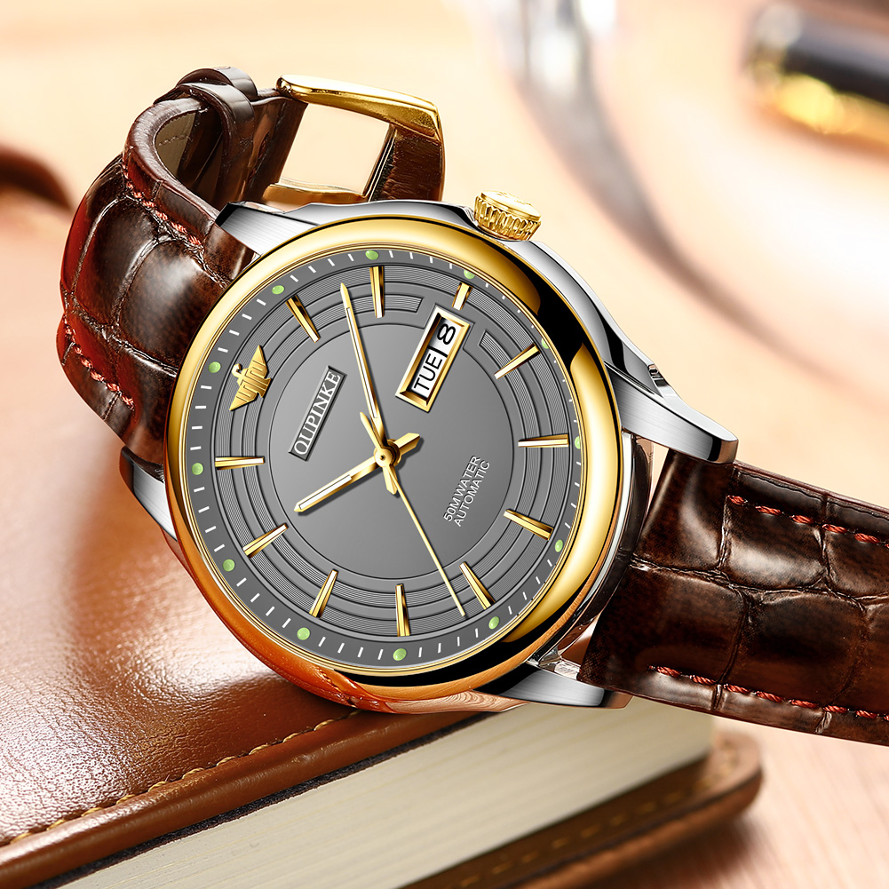 OUPINKE  Men Automatic Mechanical Watch with Genuine Leather Waterproof Japan Movement TOP Brand  Luxury Business reloj hombre