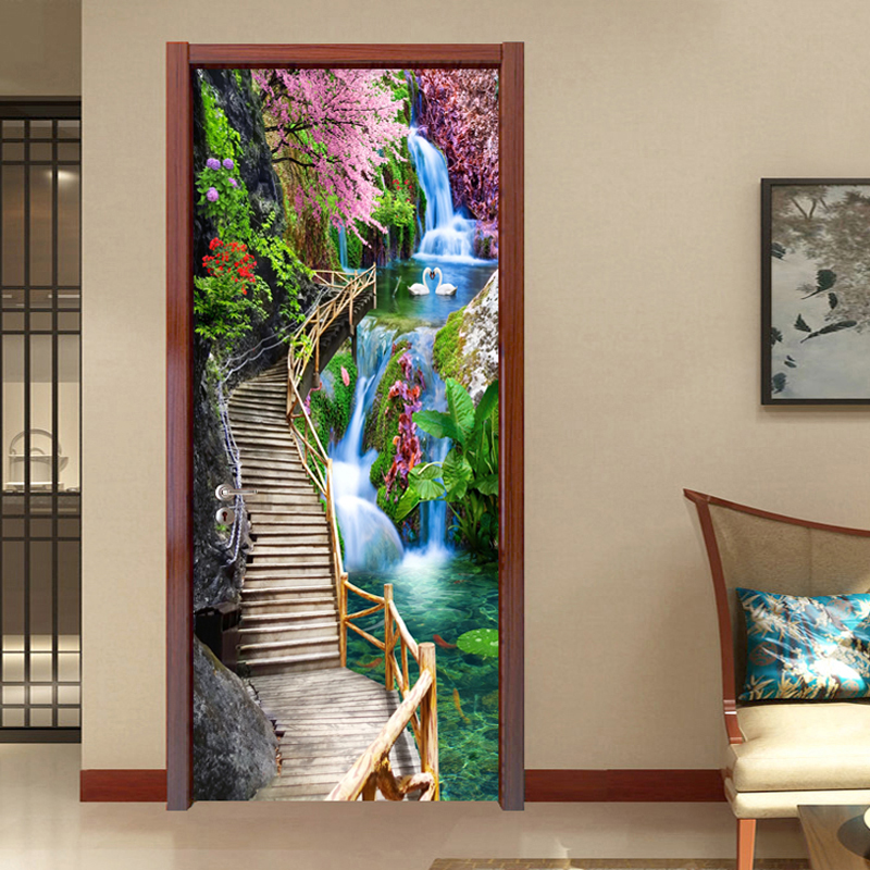 3D Stereo Waterfall Wallpaper Chinese Style Wooden Bridge Landscape PVC Door Wall Stickers Living Room Bedroom Home Door Poster