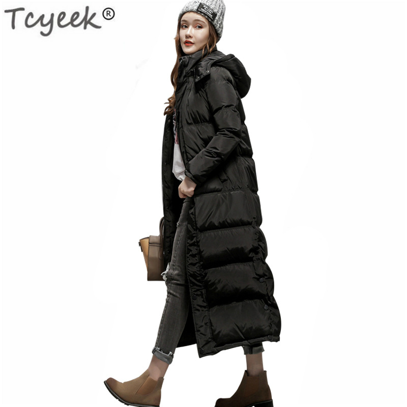 Winter White Duck Down Jacket Women 2020 New X-Long Coat Hooded Thick Warm Clothes Female Black Tops Abrigos Mujer LWL958