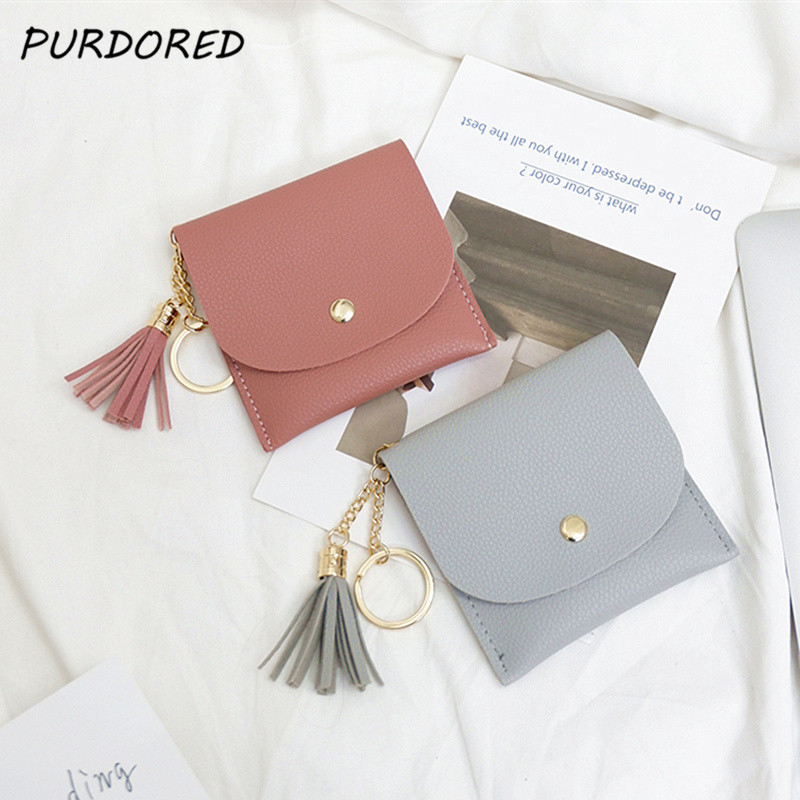 PURDORED 1 Pc  Women Mini Tassel Credit Card Holder PU Leather Short Small Card Case Money Coins Pouch Cute Bank Card Holder Bag