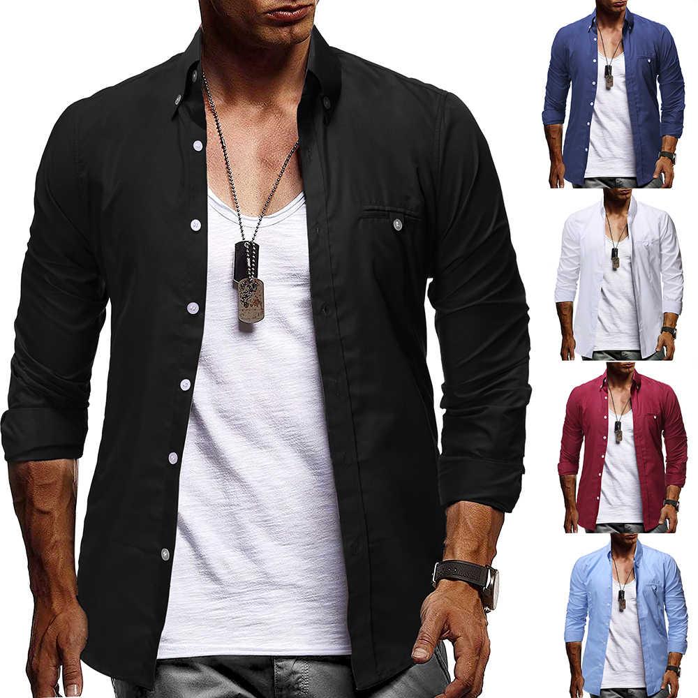 Camisa de vestir negra de marca para Hombre 2019 otoño moda Color ...