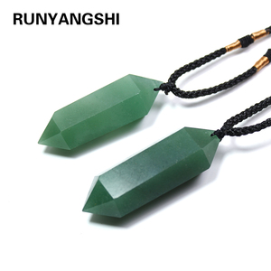 Runyangshi 1pc natural green aventurine quartz crystal pendant hexagon pendant chrysocolla choker necklace jewelry(China)