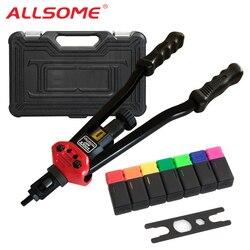 Allsome BT-607 Rivetto Tool Kit Rivnut Strumento di Regolazione Dado Setter Nutsert Mano Rivettatrice Pistole Mandrini M3 M4 M5 M6 M8 m10 M12 HT2778