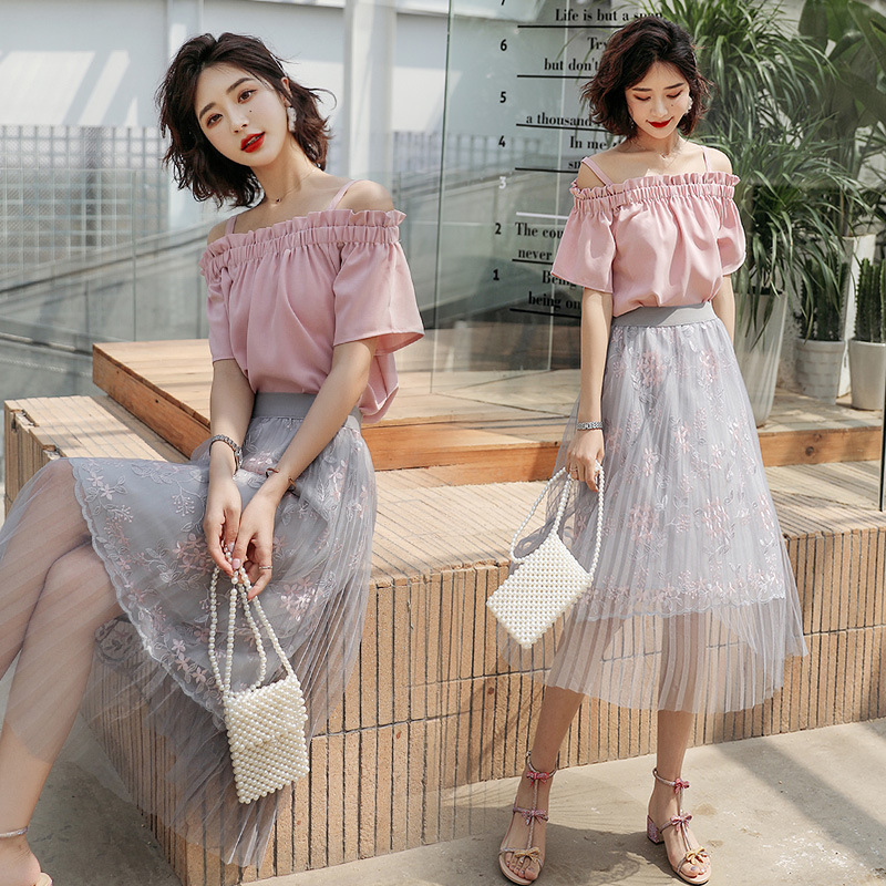 Gauze Skirt WOMEN'S Suit 2019 Summer New Style Korean-style Fashion Victoria Fu Gu Qun Western Style Two-Piece Set