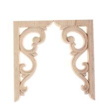 Crafts Applique-Frame Cabinet Door-Decor Carved-Corner Wood Home-Furniture for Wall 12--6cm