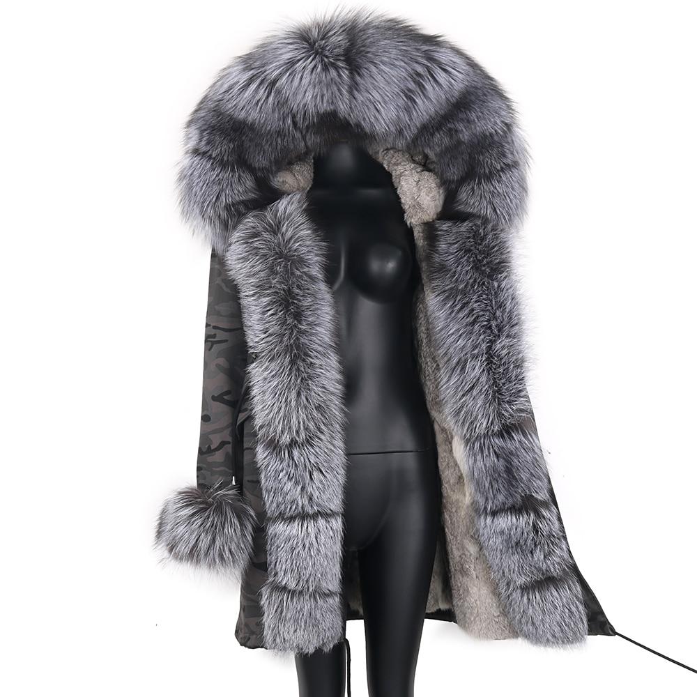2021 Real Fur Coat Natural Real Fox Fur Collar Warm Big Fur Outerwear Detachable Female Long Parka Women Fashion Winter Jacket 4