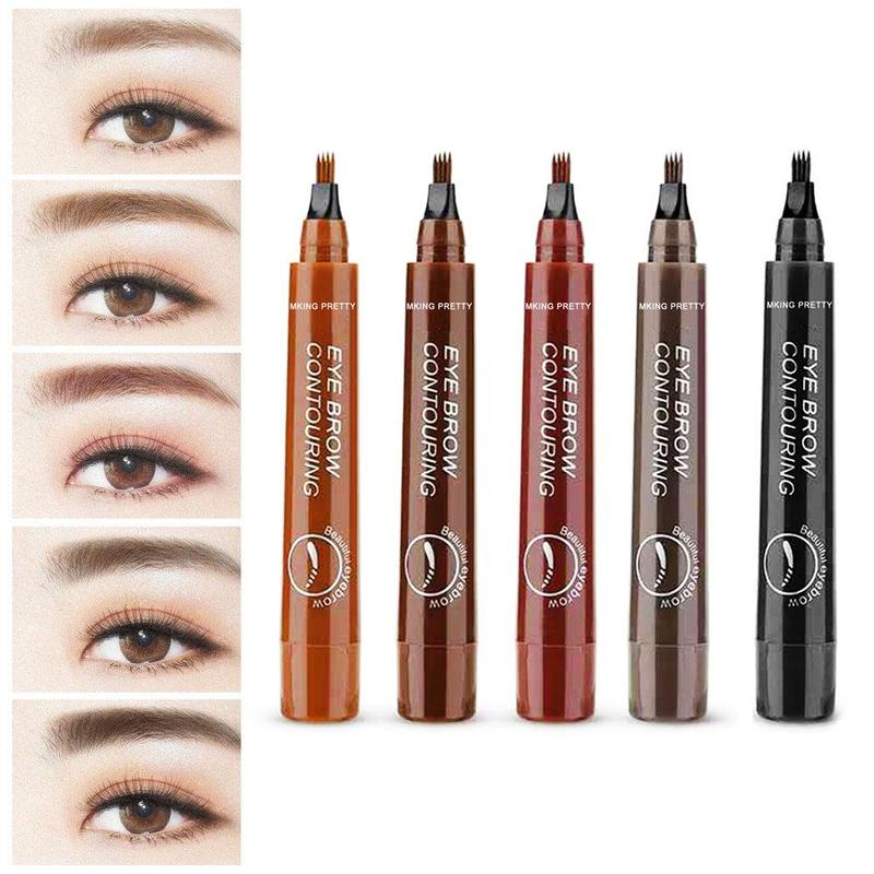 Black Brown Color Waterproof Henna 4 Heads Fork Liquid Painting Brow Tattoo Pencil Natural Eyebrow Makeup Pen image