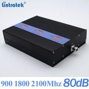 Image 2 - Lintratek nowy 80dB GSM 2G 3G 4G wzmacniacz sygnału 900 1800 2100Mhz Repeater 25dBm Triband wzmacniacz sygnału AGC MGC duży zasięg