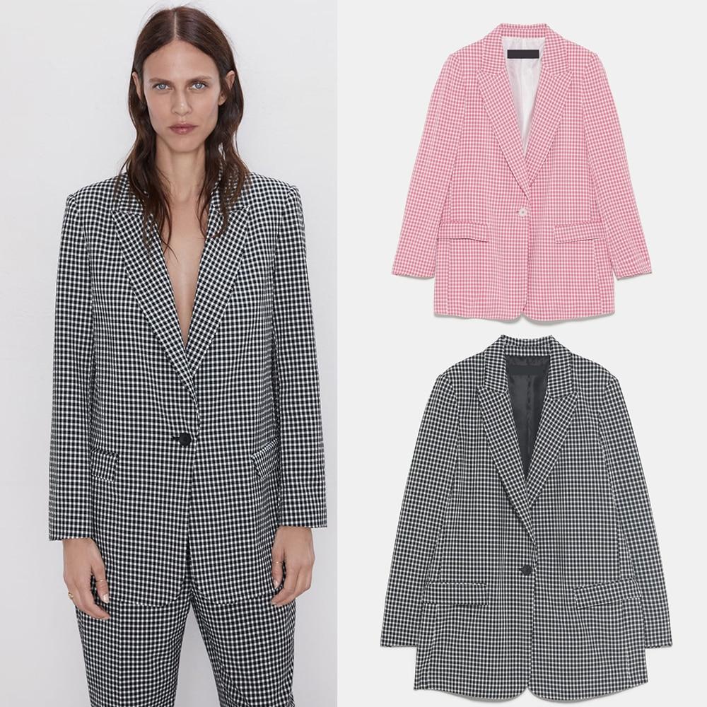 ZA Plaid Casual Blazer 2019 Trendy Autumn Winter England Elegant Women Blazers Party Travel Friends Gifts Wholesale
