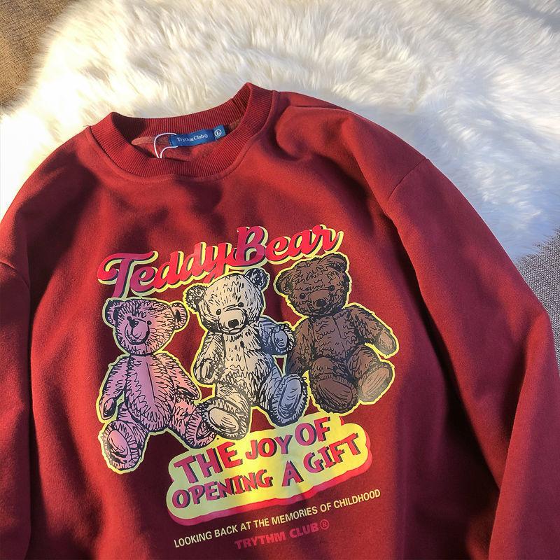 Толстовка для девочек, осень 2021, толстовка для студентов с милым мультяшным принтом медведя, винно-красный свитер для женщин
