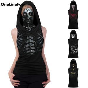 OneLineFox забавная черная футболка с 3d-изображением скелета, черепа и цветов с маской для лица, женская летняя тканевая футболка в стиле хип-хоп ...