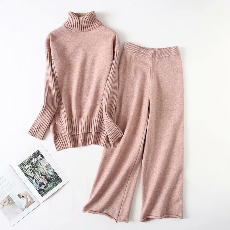 2019 New Arrival Full New Women's Suit Knit Pullover Turtleneck Sweater And Casual Wide Leg Pants Two-piece Women 2 Piece Set