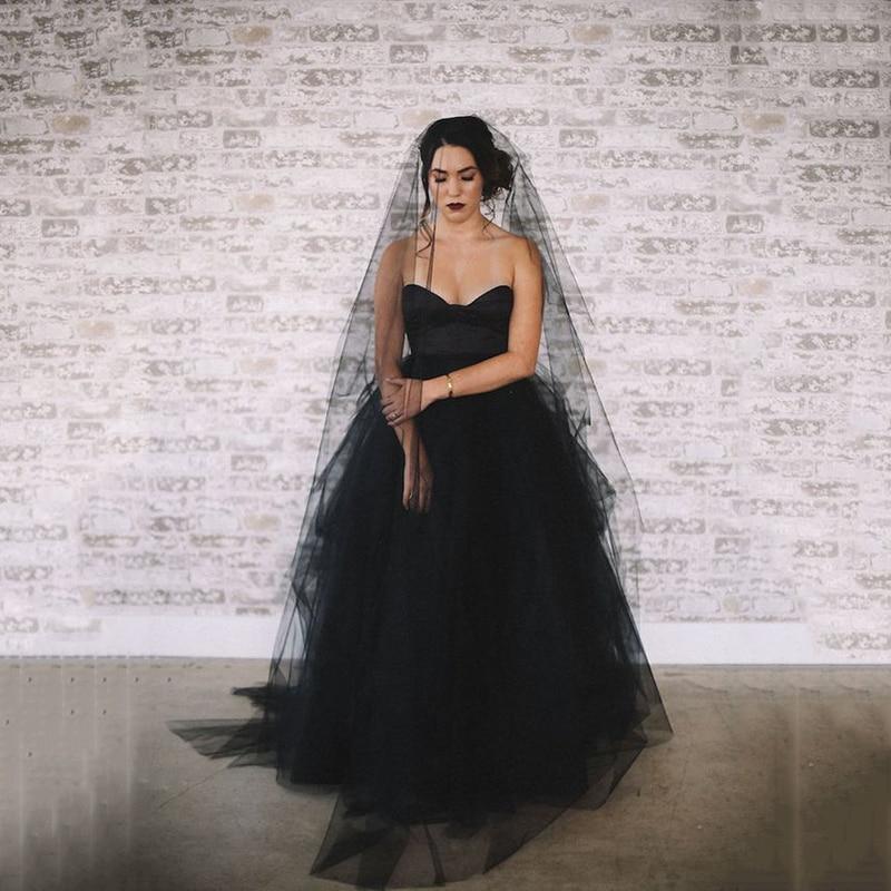 SoDgone Romantic A Line Wedding Dresses 2020 Lace Appliques Garden Black Gothic Wedding Dress Bridal Gowns Dresses Novia