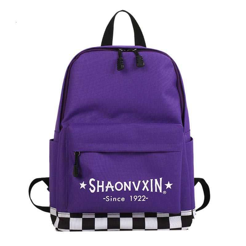 Новинка 2019, повседневный холщовый рюкзак в клетку с буквенным принтом, высокое качество, унисекс, Харадзюку, модная школьная сумка на плечо для путешествий