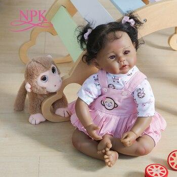 NPK-muñeco de bebé recién nacido de 50CM, cubierta negra oscura, 100% americano y africano, tacto suave, hecho a mano