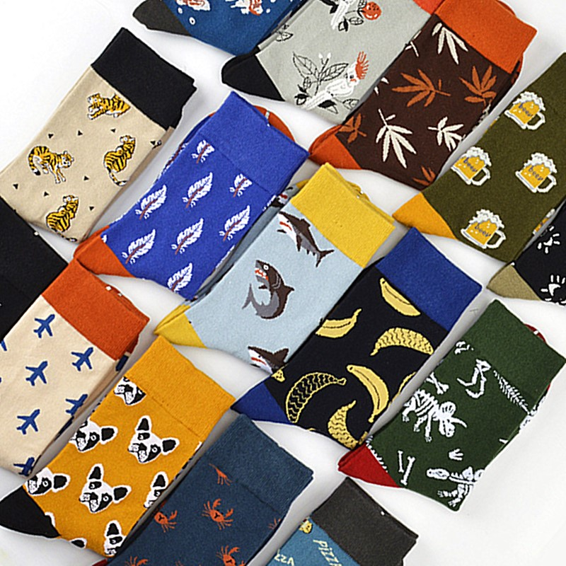 Men High Quality Cotton Socks Airplane Shark Beer Banana Tiger Dinosaur Pizza Dog Pattern Men Hip Hop Socks Fun Happy Men Socks